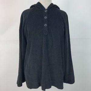 J. Jill Black Corduroy Velvet Lined Hooded Tunic